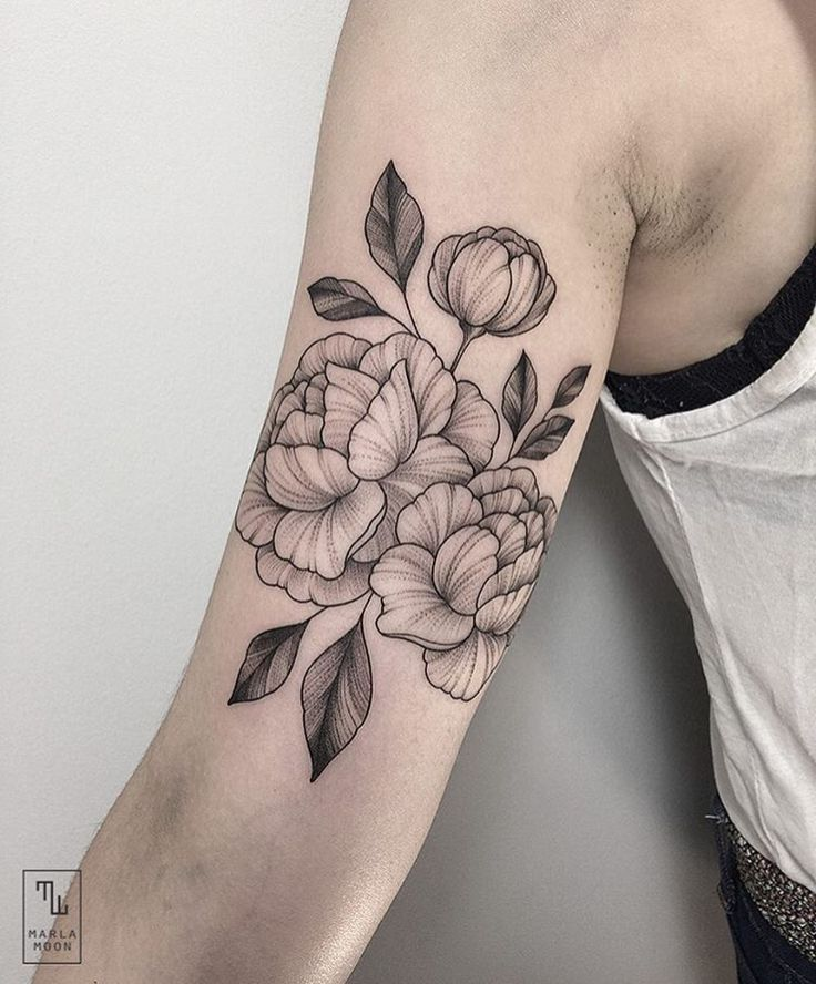 Tattoo Ideas With Flowers: Peony Flower Tattoo. Line Art.