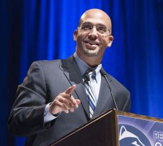 PENN STATE – FOOTBALL 2014 – Penn State head coach James Franklin has a busy schedule this month. As if a 17-stop bus tour with a handful of other Penn State coaches and his own assistant coaches was not enough, Franklin will give a commencement speech at his alma mater this weekend.