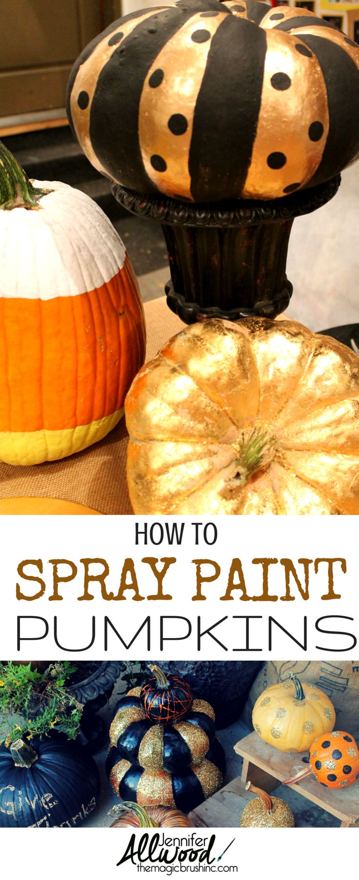 How to spray paint pumpkins as fall & Halloween decor. More DIY decoratng projects at theMagicBrushinc.com