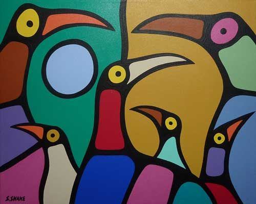 First Nations art is unique and beautiful . . . and this painting by Stephen Snake is proof.