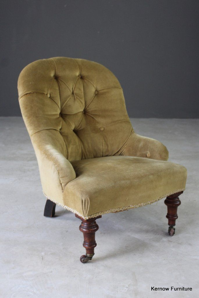 Small Victorian Nursing Chair Antique Small Button Back