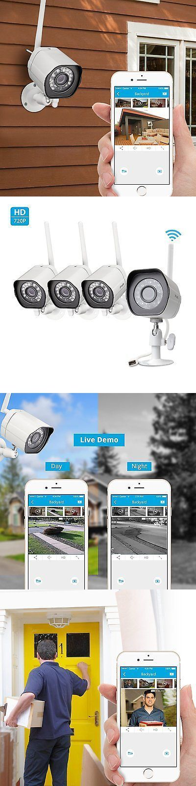 Security Cameras: Zmodo Smart Wireless Security Cameras- 4 Pack- Hd Indoor/Outdoor Wifi Ip Cameras BUY IT NOW ONLY: $119.96