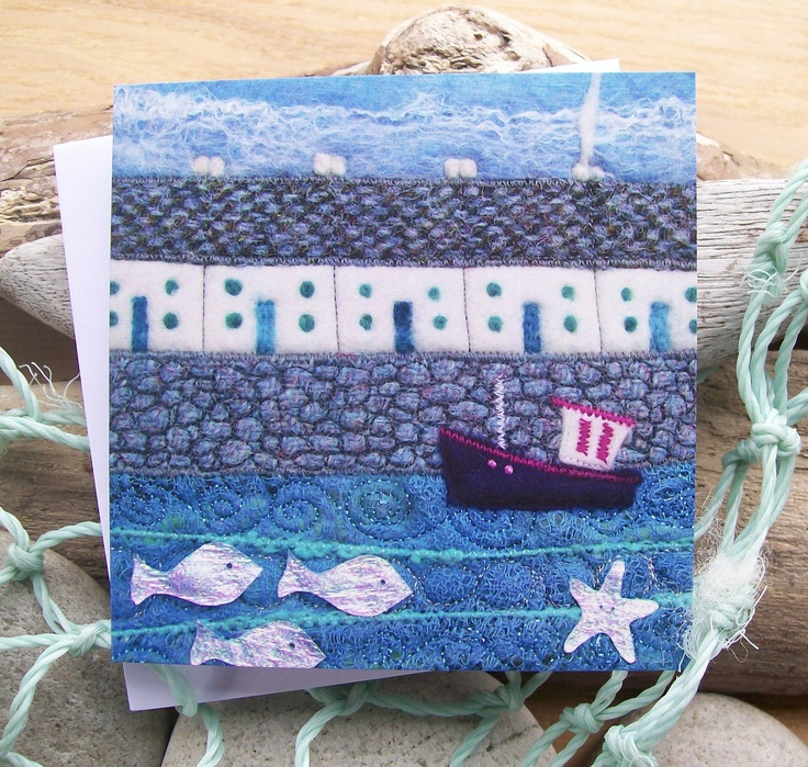 Printed Greetings Card Harbour Houses, Boat and Fish. £2.50, via Etsy.