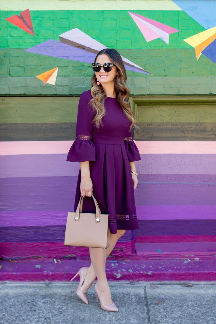54e307f85fe2 Burgundy Bell Sleeve Fit and Flare Dress   STREET STYLE   Dresses ...