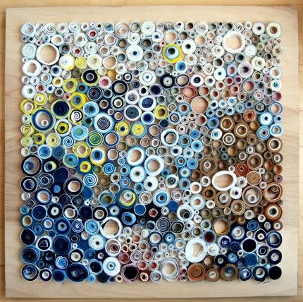 """I first stumbled upon Lee Gainer's work when I searched Etsy for the term """"circles"""" for my Trend Alert on circles, and I've been in awe of it ever since. Lee creates beautiful mixed media collages and paintings from a variety of materials like"""