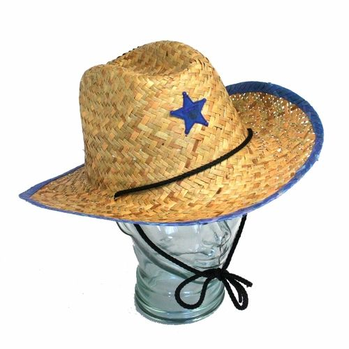 The kids star cowboy hat is a fun hat to pass out to all the cowboys or cowgirls at your party.  Coming in assorted red or blue this has is our low price great value cowboy hat.  The cowboy hat is made of straw and has either a blue or red sheriff badge on the front with matching red or blue edging.  The kids cowboy hat also has a black cord that wraps around the neck to keep the cowboy hat from falling off. He'll feel like the sheriff of the party when the birthday boy host and his friends…