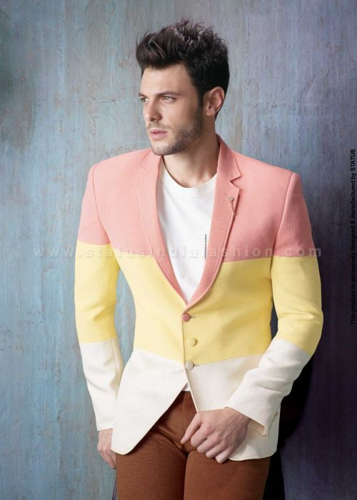 <p>This beautiful fresh looking blazer in imported jute fabric is designed in light pink, light yellow and ivory color with decent matching buttons. Note: This Product does not include bottom or anything except blazer.</p>