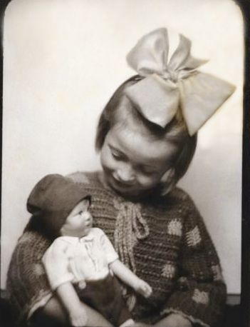 +~ Vintage Photo Booth Picture ~+  Little girl and her doll