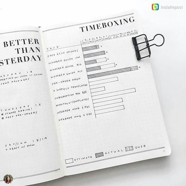 """Time Boxing. Have you heard of this? Very interesting time management page from @inkbyjeng. Here's what she has to say on the topic: """"I am starting to incorporate tactics used at work into my #bulletjournal. I allow some flexibility in going overtime as long as I keep track of it. Week after week I will improve my estimates and and get a better sense of what I can accomplish in 15 minute increments. ... I highly recommend it for anyone who struggles with staying focused on the day to day…"""