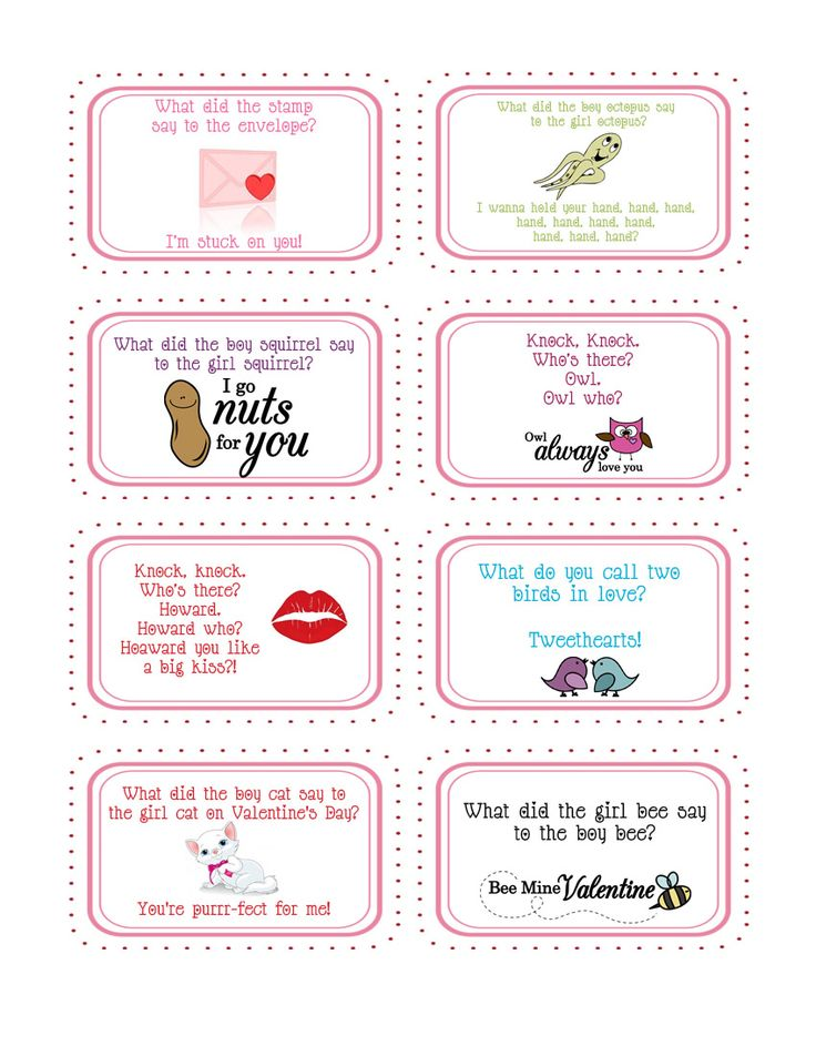 Printable Valentine Jokes ~ cute to put these little jokes in your kids lunch box