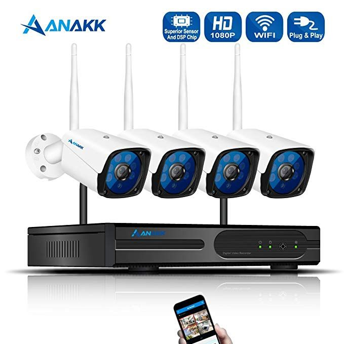 Anakk 4 Channel Wireless Security Camera System Cctv Nvr Kit Hd 1080p Bullet Ip Cameras Wireless Security Camera System Security Camera System Security Camera