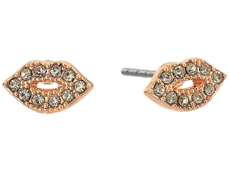 REBECCA MINKOFF REBECCA MINKOFF - LIPS STUD EARRINGS (ROSE GOLD/BLACK DIAMOND) EARRING. #rebeccaminkoff #
