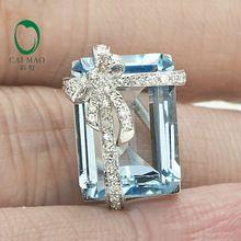 9.98ct taglio smeraldo naturale topazio azzurro solido 14 k oro naturale spilla di diamanti(China (Mainland))