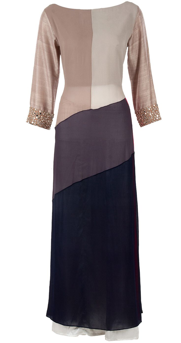 Colour block mirror work tunic by MANISH MALHOTRA. Shop at http://www.perniaspopupshop.com/designers-1/manish-malhotra