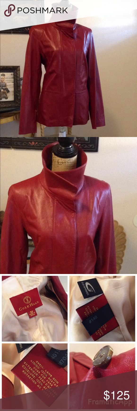 Cole Haan Red Lambskin Leather  Jacket Cole Haan Red Lambskin Leather  Jacket  Sz  Med . Has button front closure two side pockets  and one interior pocket. Gently worn a few time in great condition. Cole Haan Jackets & Coats Blazers