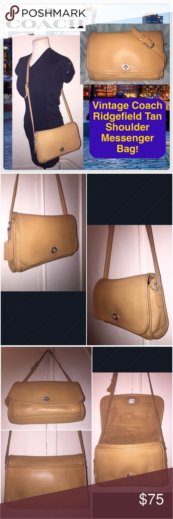 "VTG Coach Ridgefield Tan Shoulder Messenger Bag! Vintage Coach Ridgefield Tan Shoulder Messenger Bag! Features: 100% authentic, glove-tanned Leather, camel tan color, nickel hw, front turn-lock closure, int zip pocket, back slip pocket, front gusseted pocket under front flap & ad shoulder strap. Coach creed & serial no. 9570 on inside. Measures 8"" x 11"" x 4"" & up to 23"" long adj 1"" wide strap. Light ext marks & straitions on the leather which add to nice light distressed look. No rips, tears…"