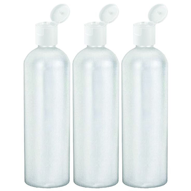 16 Oz Easy Squeeze HDPE Bottles Commercial Grade with White Flip Cap - 3 Pack