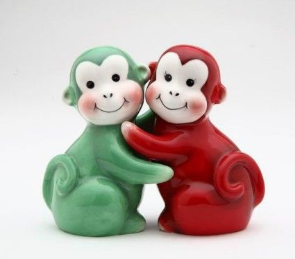 Good Inch Red And Green Happy Hugging Monkey Salt And Pepper Shakers By Atd