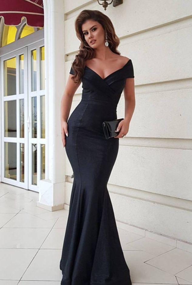 black evening gowns,mermaid prom dress,v-neck prom dress,long evening dress,long formal dress