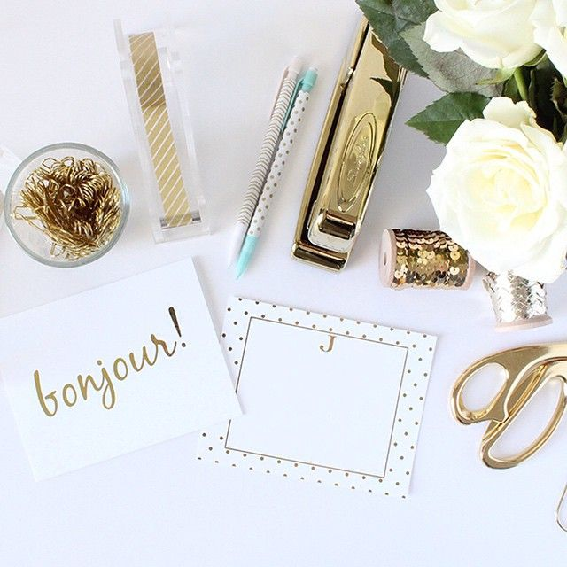 gold desktop accessories modern girl office decoration pretty in gold these gorgeous gold foil note cards are available our shop chicfetticomshop kate spade inspired office 2018 pinterest desk