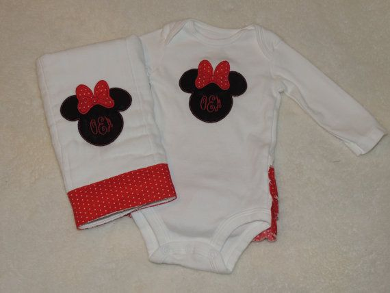 Minnie Mouse Onesie Minnie Mouse Birp Cloth by madebygrannyshands, $35.00