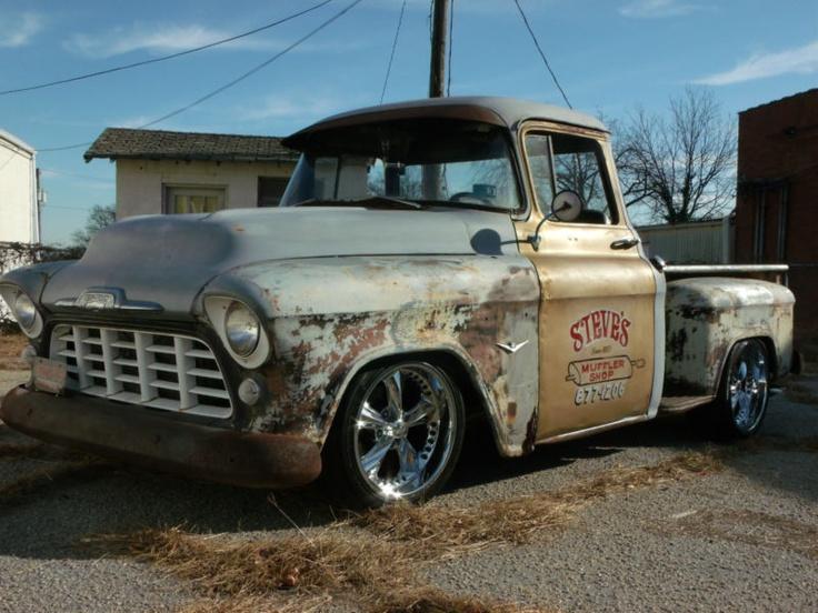1955 Chevrolet Step Side Pick Up Rat Rod Truck. A true shop truck.