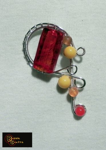 wire wrapped brooch with murano glass | Bubble Crafts