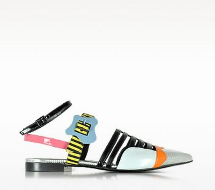 PIERRE HARDY Multicolor Stripes Leather Alchimia Flat Sandal
