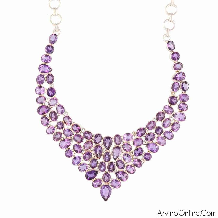Sterling Silver Necklace With Amethyst Gemstone