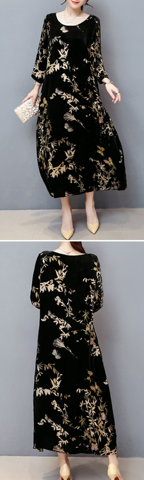 Vintage Women Printed Long Sleeve O-Neck Velvet Maxi Dress #fashion #style #Dress