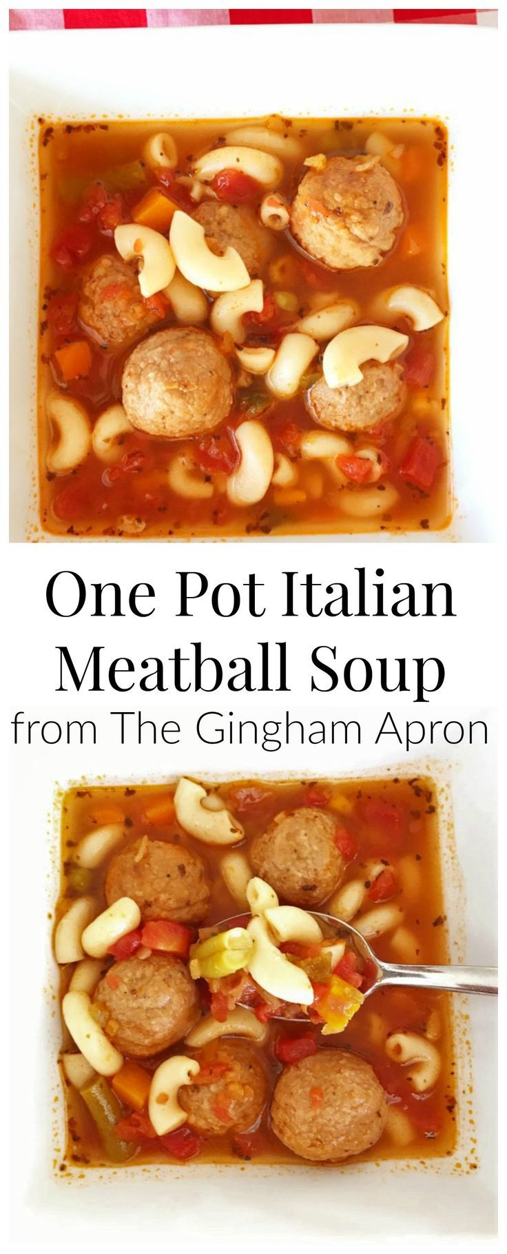 One Pot Italian Meatball Soup- quick, easy, and delicious!