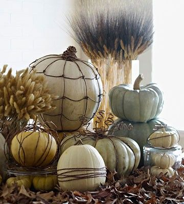 Twine wrapped pumpkins