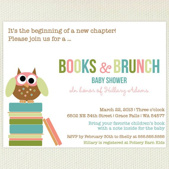 LOVE this idea!! Book Baby Shower Invitation With Little Owl and Matching Bookplates