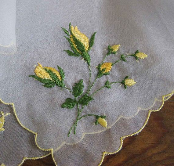 Vintage Sheer Hanky Floral Yellow Roses by ciderantiques on Etsy