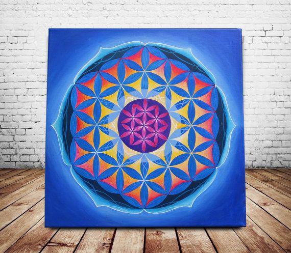 Parete arte acrilico pittura sacra geometria arte di StudioEclipse