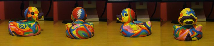 (2010) Custom hippy themed rubber duck. Made as a gift for my dad who is into weird dad music, hence the Grateful Dead logo, Pink Floyd prism and Zappa stache.
