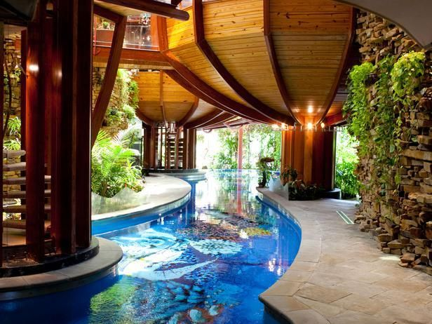 "As seen on HGTV's ""Amazing Water Homes""--> http://hg.tv/14ui7: Indoor Pools, Hgtv S Amazing, Diving Platform, Beautiful Indoor, Amazing Water, Lakeside Volleyb, Lakeside Fun, Water Parks, Poolsid Bar"