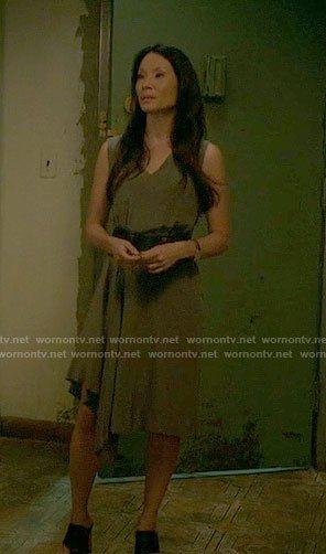 Joan's asymmetrical draped dress on Elementary.  Outfit Details: https://wornontv.net/62397/ #Elementary