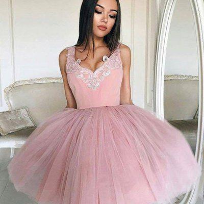Cute a-line short pink prom dress homecoming dress
