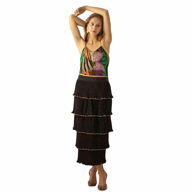 Vintage 80's Jeanne Marc Black gold micro Pleated Tiered Skirt. $74.00, via Etsy.