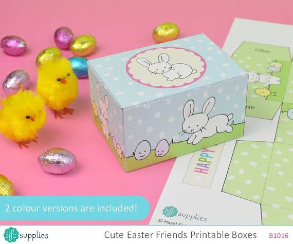 Cute Easter Printable Gift Boxes - 2 templates, print and make yourself, rabbit, sheet, egg and chick boxes - Digital Instant Download B1016 Design by hfcSupplies Etsy #eastercrafts #Easter #printablebox