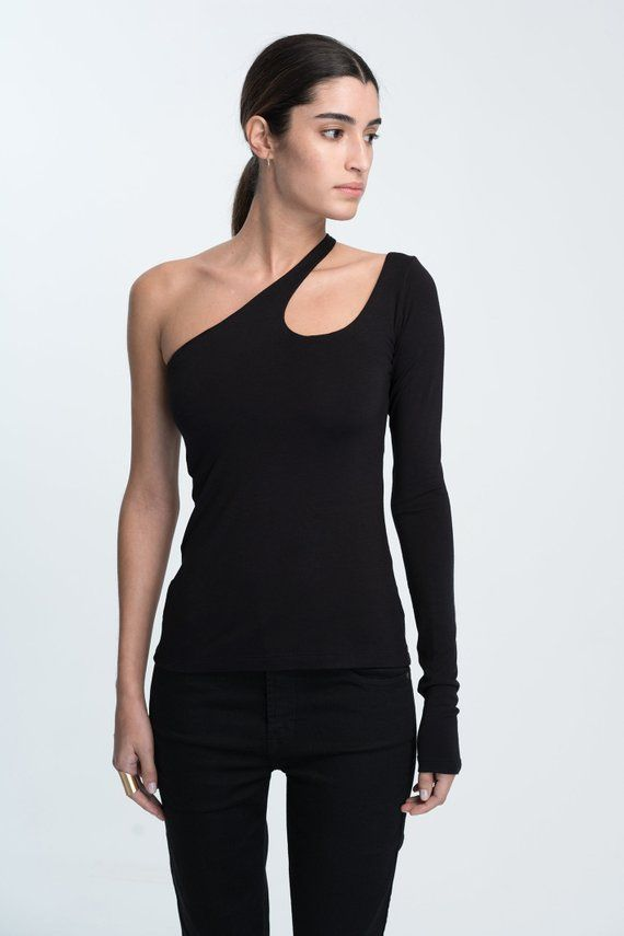 3479977291b7d9 One-Shoulder Top / Black Top / Sexy Shirt / Long Sleeve Blouse ...