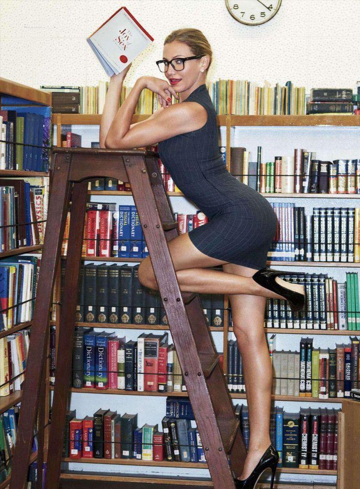Leggy Cameron Diaz as a sexy librarian   Best Celebrity Legs in High Heels