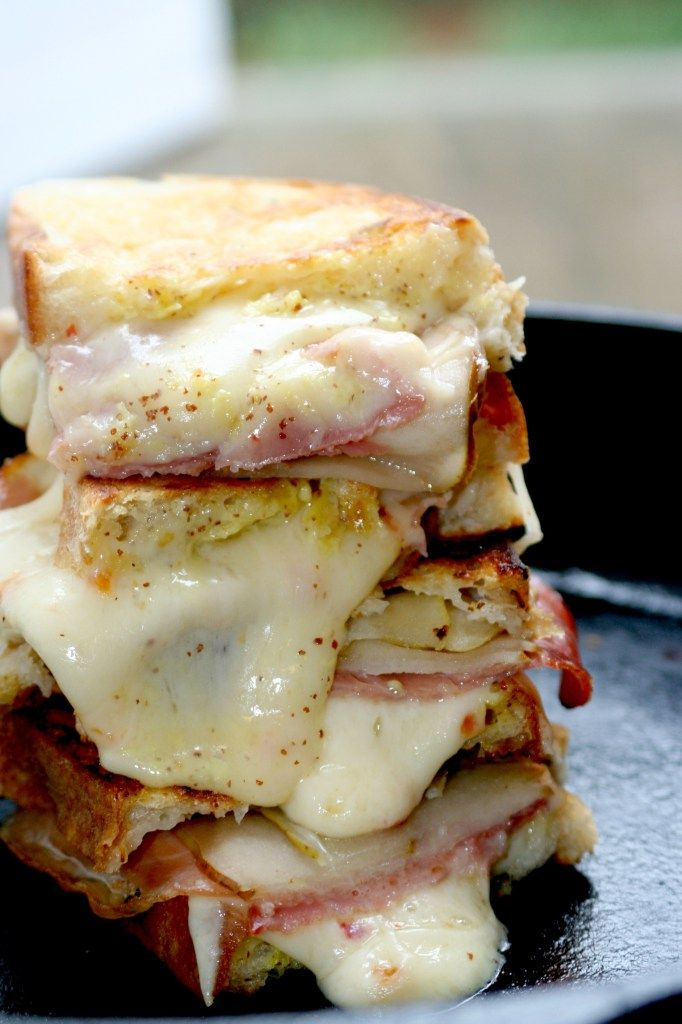 Habanero Jack Grilled Cheese with Pears & Prosciutto - Cooking with Books