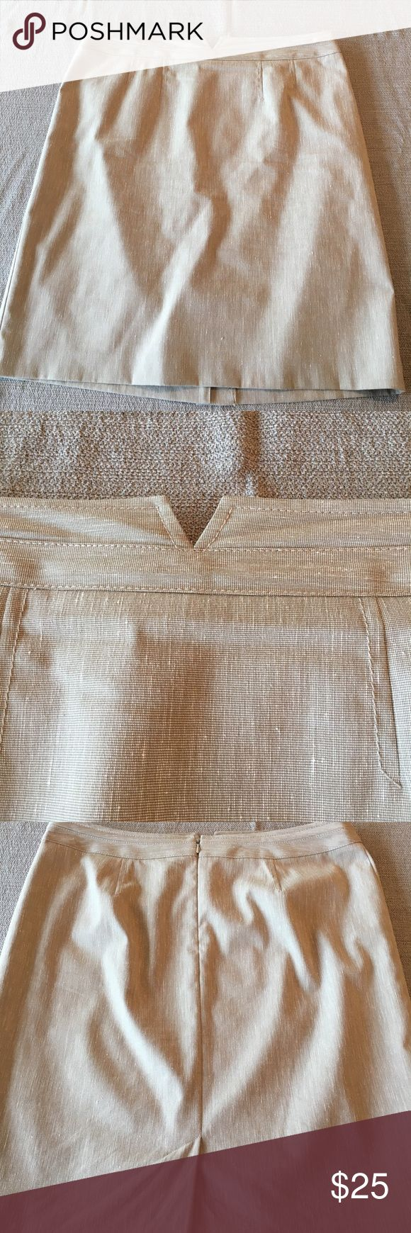 Tan Pencil Skirt with V design Halogen tan suiting skirt with cute v notch in front for tucked in blouses. Excellent condition - worn only a couple of times. Great year round office staple. Halogen Skirts Pencil