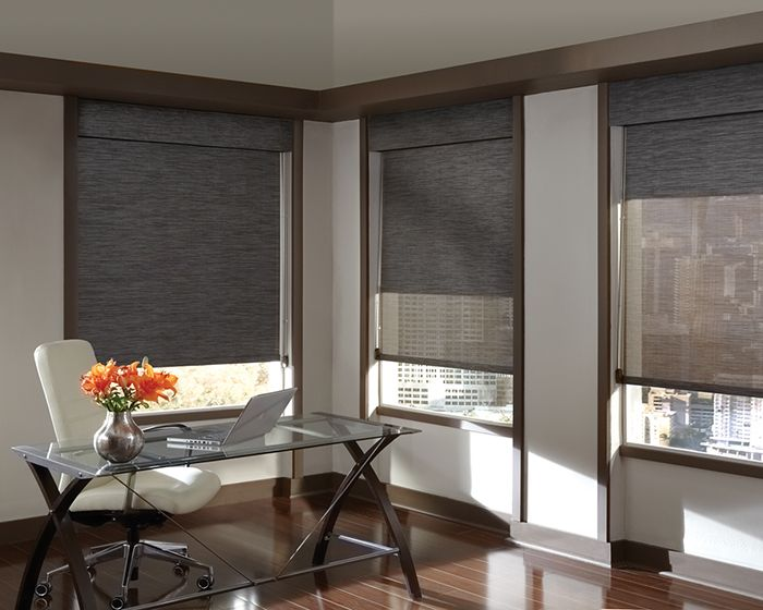 Both aesthetic and practical, a home office that offers privacy or view with a dash of urban drama. Designer Screen Shades ♦ Hunter Douglas window treatments #loft
