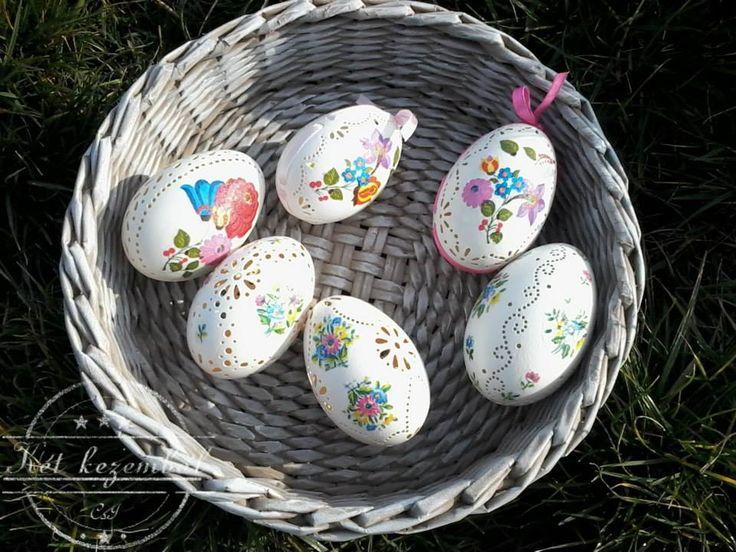 Csipkézett tojások szalvéta technikával