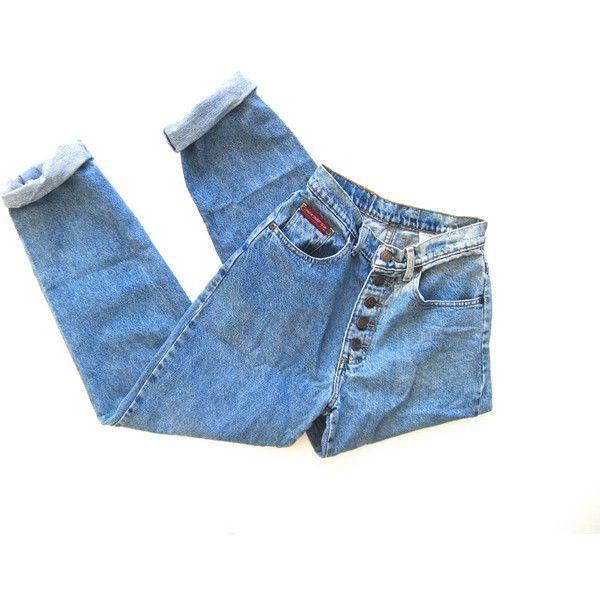 80s High Waist Blue Jeans BUTTON FLY Worn In Denim Straight Leg... ($63) ❤ liked on Polyvore featuring jeans, bottoms, pants, high waisted jeans, 80s jeans, vintage high waisted jeans, high-waisted boyfriend jeans and high rise jeans