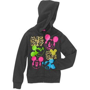 Disney - Girls Multiple Mickey Mouse Fleece Full Zip Hoodie- $11.00 at walmart.com