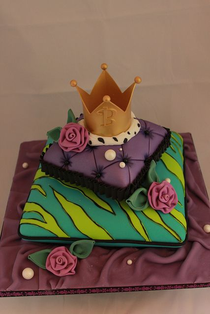 Stacked pillow cake with crown by Andrea's SweetCakes, via Flickr